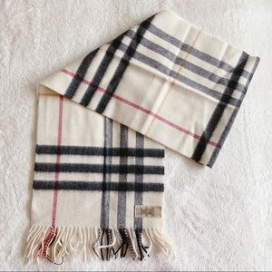 NWT Authentic Burberry Ivory Check Cashmere Scarf